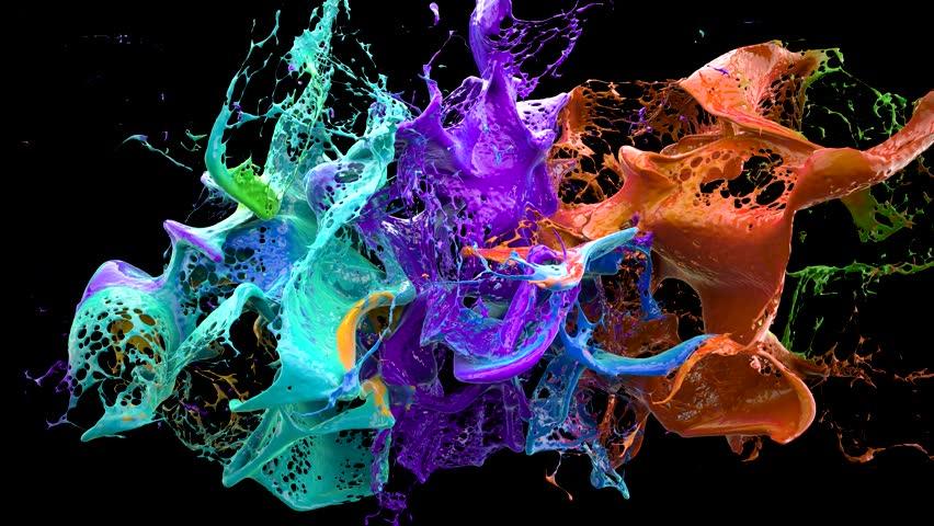 liquid explosion on black slow motion, shallow dof, alpha matte, 4k