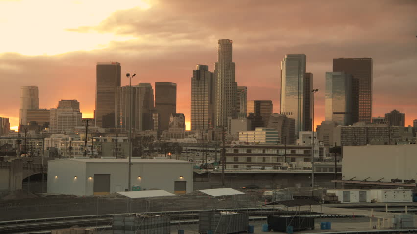 Gorgeous Los Angeles Skyline Sunrise Sunset  | Shutterstock HD Video #2222086