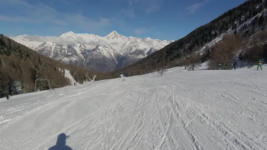 Skiing in the beautiful alps filmed with the action cam | Shutterstock HD Video #22234426