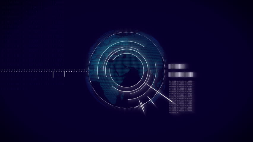 Information technology blue background. Abstract hi-tech animation with  rotate globe, sound equalizer