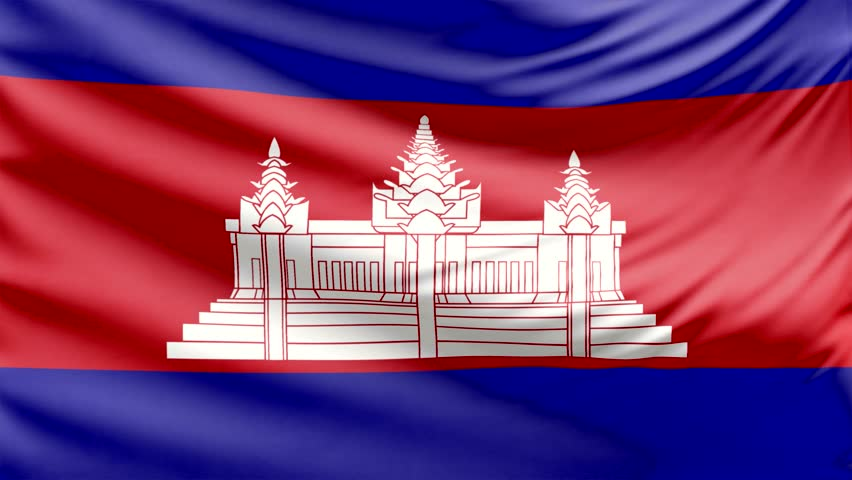 Cambodia Flag Waving