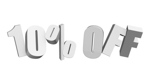 10 percent off 3d letters rotate on white background. 3d render 4K and Full HD footage. Alpha matte included.