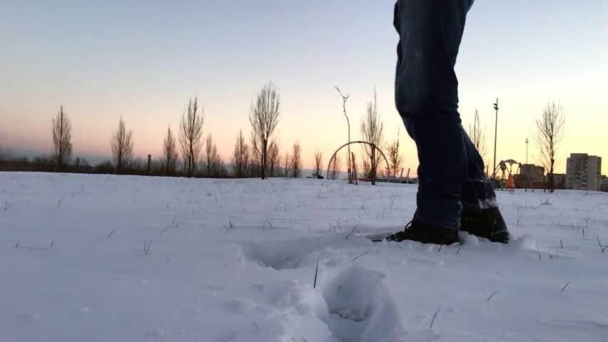 Foot feet steeps. hiking walking. slow motion. snow winter landscape | Shutterstock HD Video #22262386