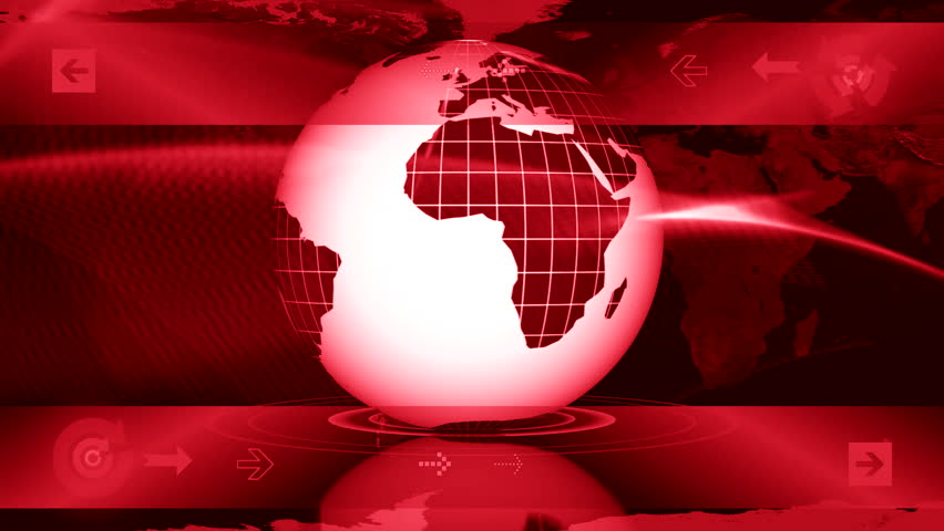 globe and abstract background for news - LOOP - red