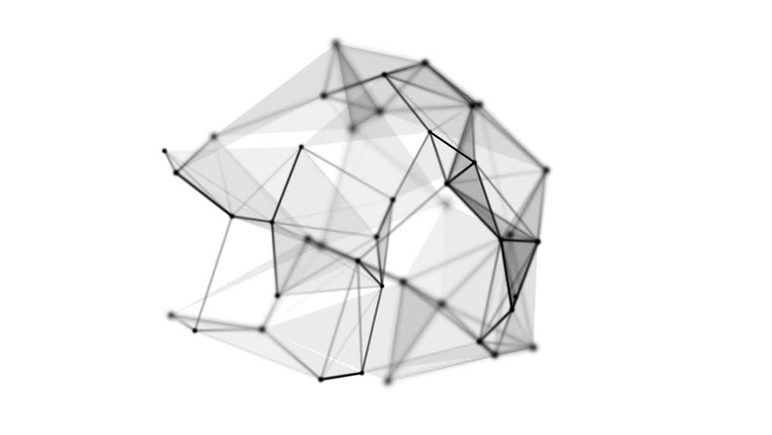 Wireframe mesh polygonal object. Abstract form with connected lines and dots. 3D render HD footage | Shutterstock HD Video #22339423