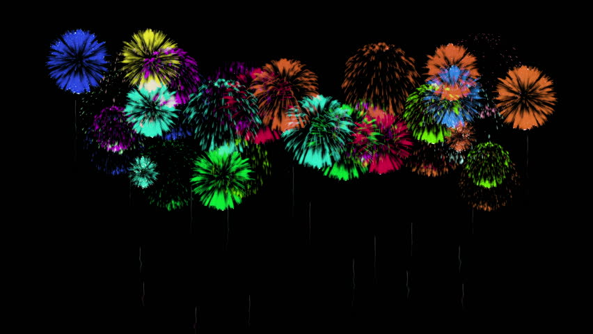 3D Render 4K. Computer Graphic. Multiple Fireworks. Sharp Vibrant Clean Firework Display. Ver. 47