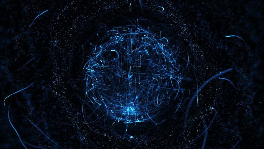 Colorful sphere in space with glowing particles. Abstract background. Loop video. Seamless. Beautiful background with particles. Isolated sphere on black background with particles
