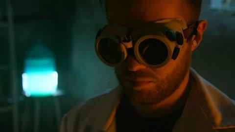 Strange scientist ignites the gas burner