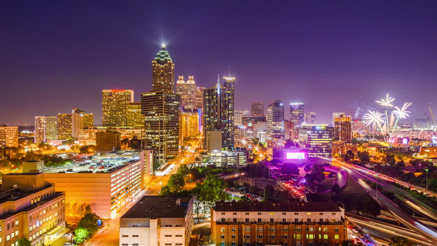 atlanta georgia usa downtown skyline time lapse stock footage video 10672301 shutterstock. Black Bedroom Furniture Sets. Home Design Ideas