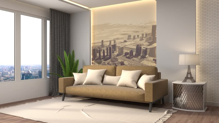 Living Room Hd building up modern living room. 3d illustration stock footage