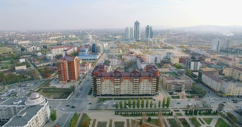 Aerial View Of Chechnya Grozny city center