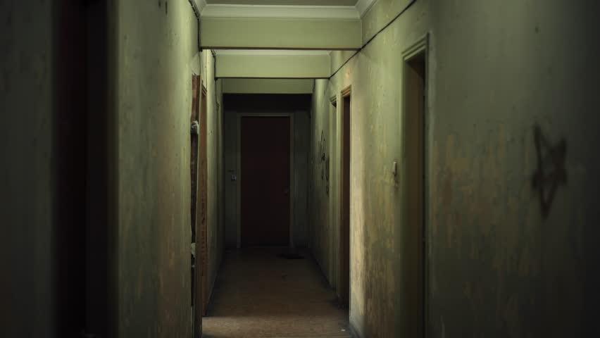 Old Dark Creepy Apartment Building Long Stock Footage