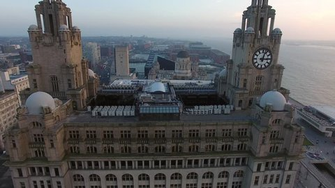 Liverpool Skyline and the Mersey river - Amazing 4K Drone footage in the warm evening light.