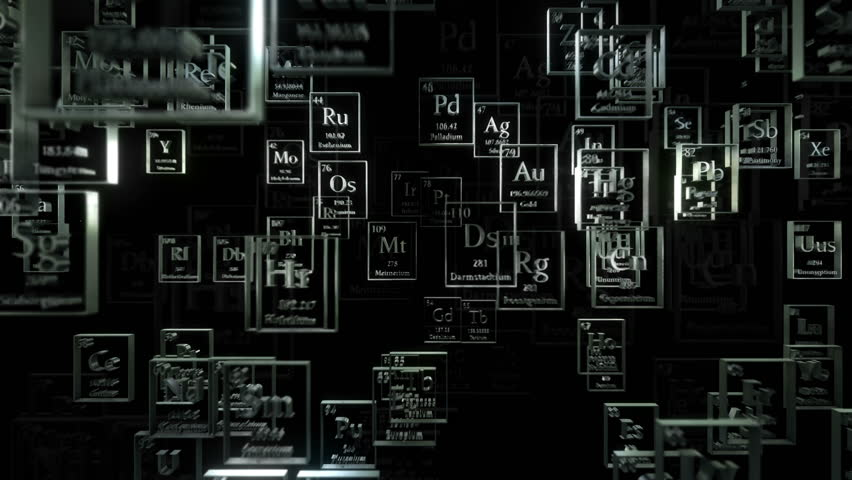 Loopable camera passing through flying metal chemical elements. Periodical table of elements. Mendeleev`s table fragment | Shutterstock HD Video #22480795