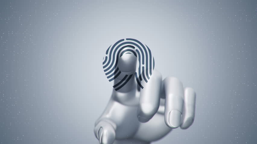 Animation touching finger of abstract human hand to touch screen and scanning tech symbol as fingerprint. Animation of seamless loop. | Shutterstock HD Video #22482556