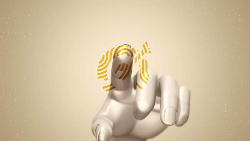 Animation touching finger of abstract human hand to touch screen and scanning tech symbol as fingerprint. Animation of seamless loop. | Shutterstock HD Video #22483156