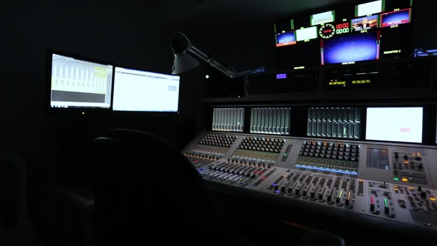 Broadcast Tv Studio Production - Music Recording Studio, Audio mixer - Dolly Moving Right | Shutterstock HD Video #22525846