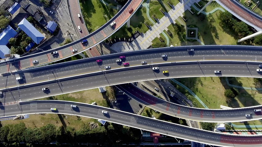 Aerial view of bangkok busy highway taken in afternoon, useful for engineering, industrial, transportation concept | Shutterstock HD Video #22546246