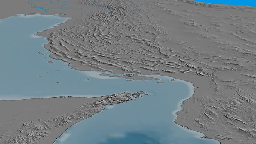 Glide over Zagros mountain range - masks. Elevation map. High resolution ASTER GDEM data textured