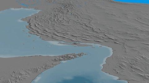 Glide over Zagros mountain range - masks. Elevation map. High resolution ASTER GDEM data textured