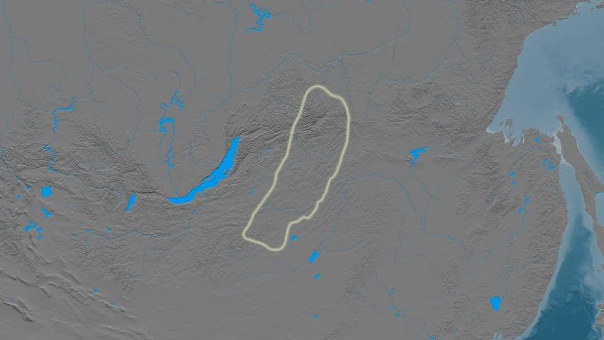 Zoom into Yablonovyy mountain range - glowed. Elevation map. High resolution ASTER GDEM data textured