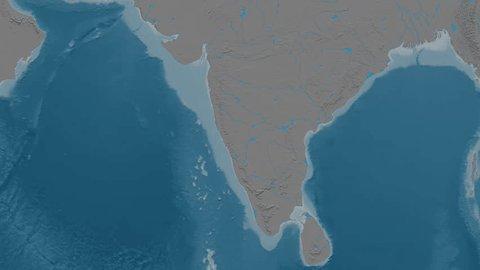 Zoom into Western Ghats mountain range - masks. Elevation map. High resolution ASTER GDEM data textured