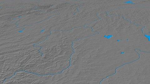 Glide over Yablonovyy mountain range - masks. Elevation map. High resolution ASTER GDEM data textured