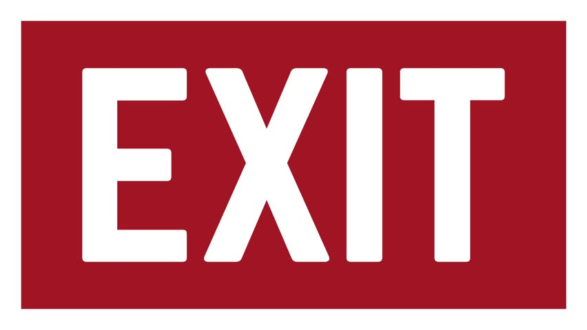 Red Exit icon sign flashing animation loop