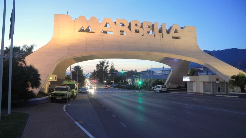 Marbella, Spain - December 26 2016: Marbella Entrance Arch at dusk