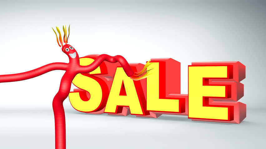 Animated inflatable red tubeman advertising puppet with bouncing sale sign