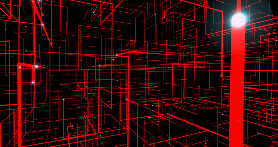 Animated abstract real-time created red grid in black space in 4K