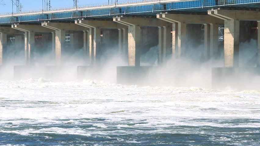 Reset of water at hydroelectric power station on the river #2265083