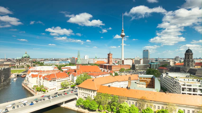 Berlin Skyline City Timelapse with cloud Dynamic in Full HD 1080p, German Capital