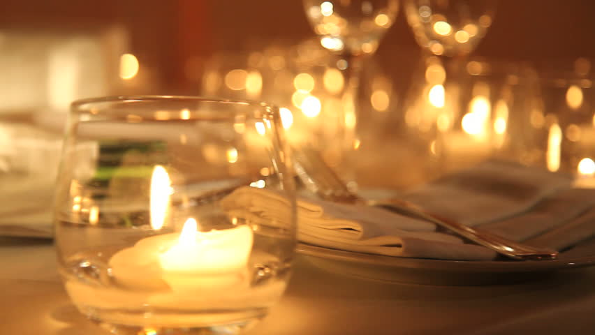 Table Setting With Lit Candles And Bouquet Of Roses Stock Footage Video 2268716 | Shutterstock & Table Setting With Lit Candles And Bouquet Of Roses Stock Footage ...