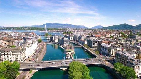 4K Aerial footage of Geneva city  in Switzerland -UHD