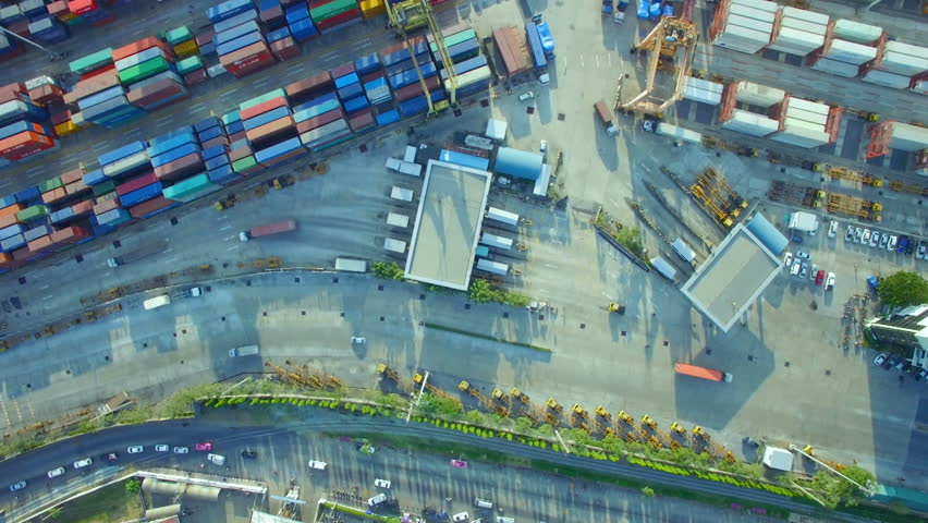 Container cargo ship, import export, business logistic supply chain transportation concept for shipping aerial view 90 degree background, 4K | Shutterstock HD Video #22700410