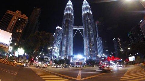 Timelapse Petronas Twin Towers Kuala Lumpur night