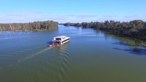 Aerial view of houseboat holiday on the Murray River Near Mildura. River Murray, Victoria