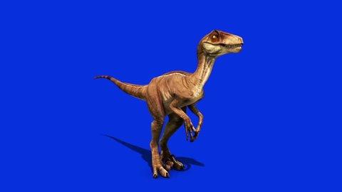 Dinosaurs Velociraptor Attacks Front Jurassic World Prehistory Blue Screen