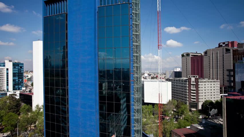 MEXICO CITY - CIRCA DECEMBER 2011: Panning time-lapse of the Mexico city skyline circa December 201.