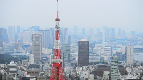 Tokyo, Japan - September 17, 2016: Skyline with the Tokyo tower. Tokyo tower is a communications and observation tower located in the Shiba-koen district