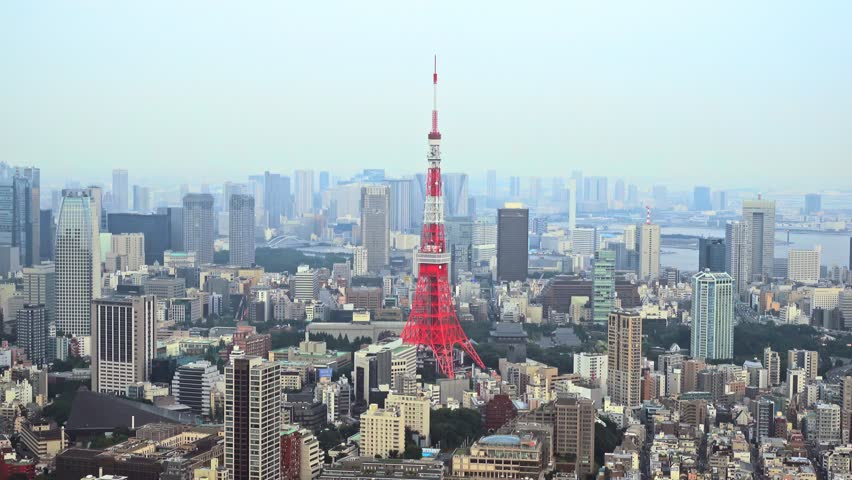 Tokyo, Japan - September 17, 2016: Skyline with the Tokyo tower. Tokyo tower is a communications and observation tower located in the Shiba-koen district | Shutterstock HD Video #22839106