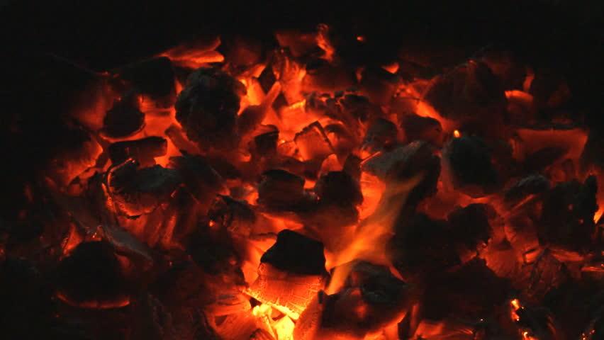 Hot red charcoals in a bonfire. | Shutterstock HD Video #22859116