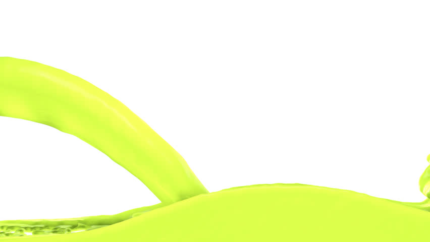 Screen Fills Up With Lemon Green Paint Alpha Channel Full Hd