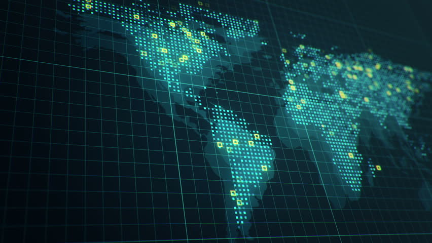 Abstract animation of World map in digital screen with colorful dots and lines. Animation of seamless loop. | Shutterstock HD Video #22911082