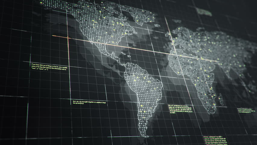 Abstract animation of World map in digital screen with colorful dots and lines. Animation of seamless loop. | Shutterstock HD Video #22911766
