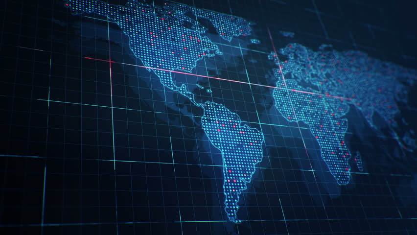Abstract animation of World map in digital screen with colorful dots and lines. Animation of seamless loop. | Shutterstock HD Video #22911940