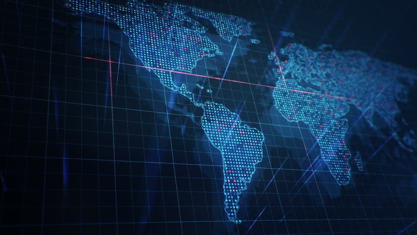 Abstract animation of World map in digital screen with colorful dots and lines. Animation of seamless loop. | Shutterstock HD Video #22911976