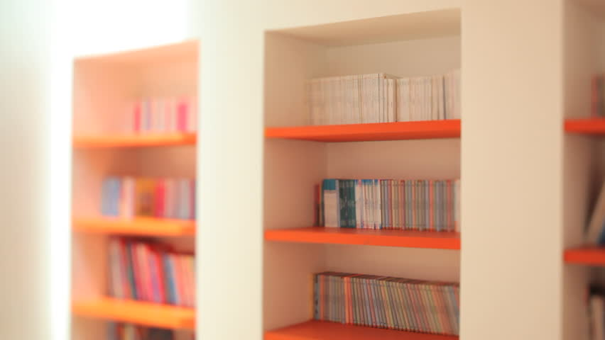 Bahrain - circa 2012 - View of books on shelves in the Iqra Children's Library which is based in a renovated traditional Bahraini house with the aim of encouraging reading and art in children.