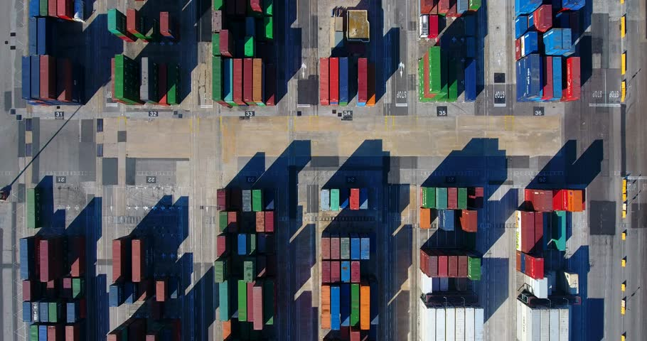 Aerial View of Industrial port with containers ship  | Shutterstock HD Video #22978066